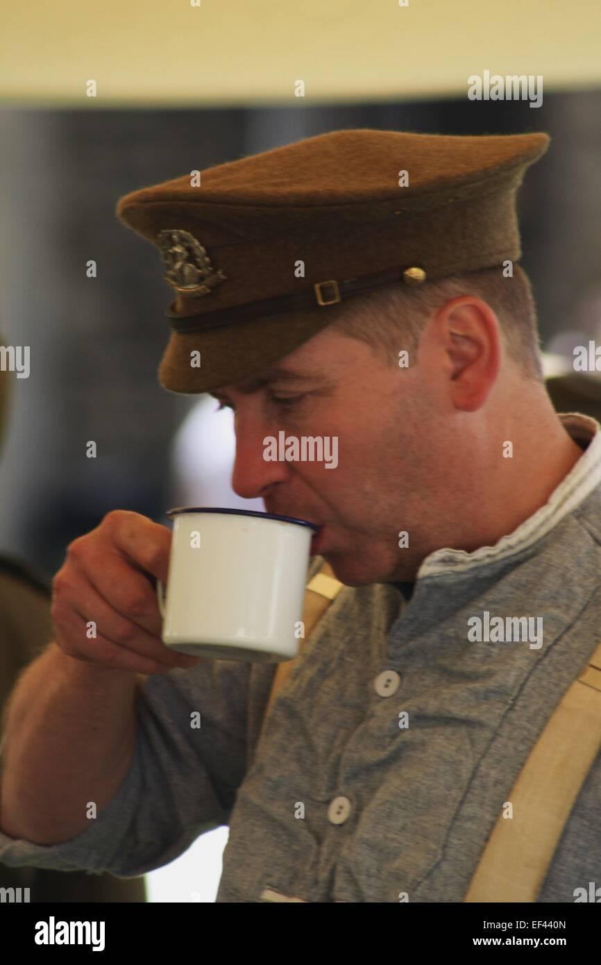 WW1 Actor, Drinking Tea Stock Photo