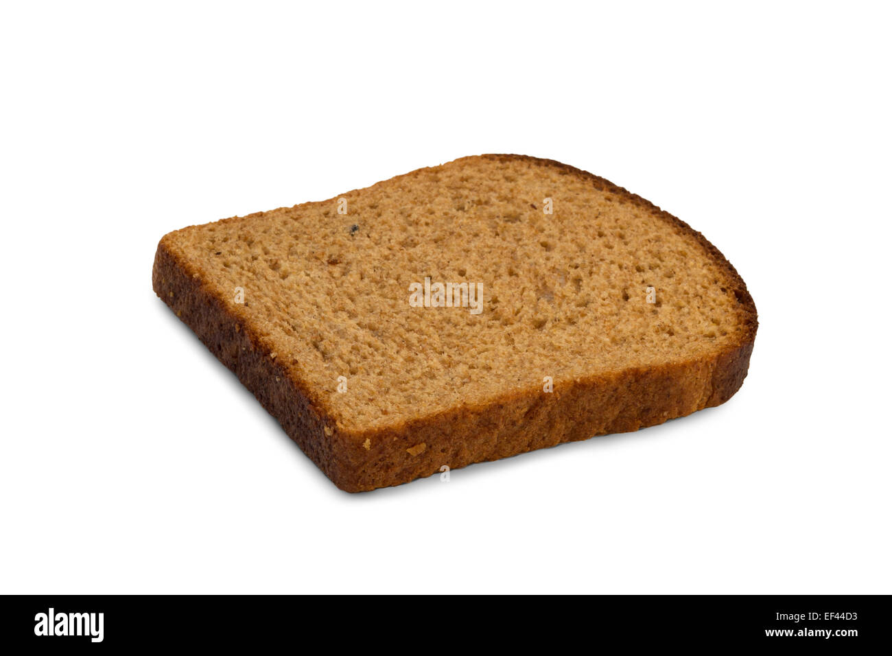 Closeup of a slice of traditional Finnish potato rye bread, isolated on white background - Stock Image