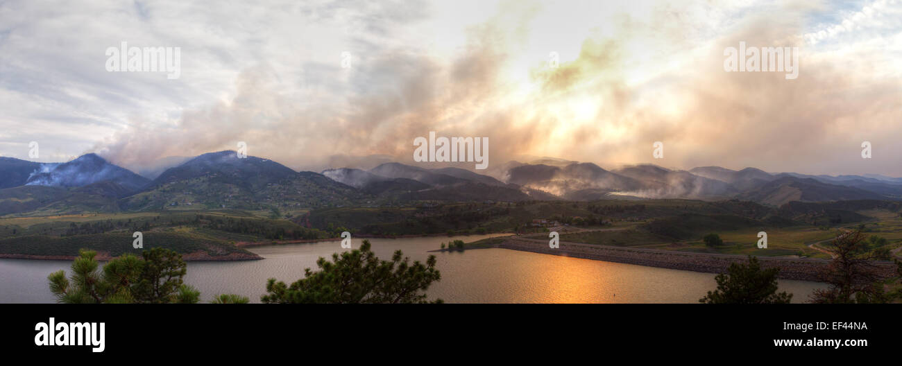 Panoramic landscape of the High Park Fire in Colorado, 2012 Stock Photo