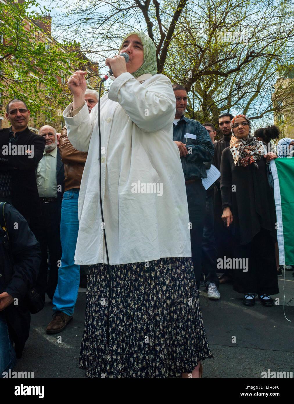 Paris, France, French Arab Muslims Demonstrating against Islamophobia, Racism, Woman Speaker on Street - Stock Image