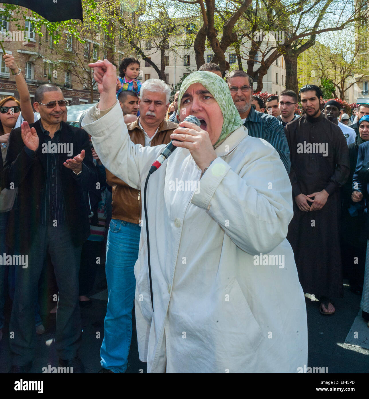Paris, France, French Arab Muslim Demonstrating against Islamophobia, Racism, Rally, Woman Making Speech to Crowd, - Stock Image