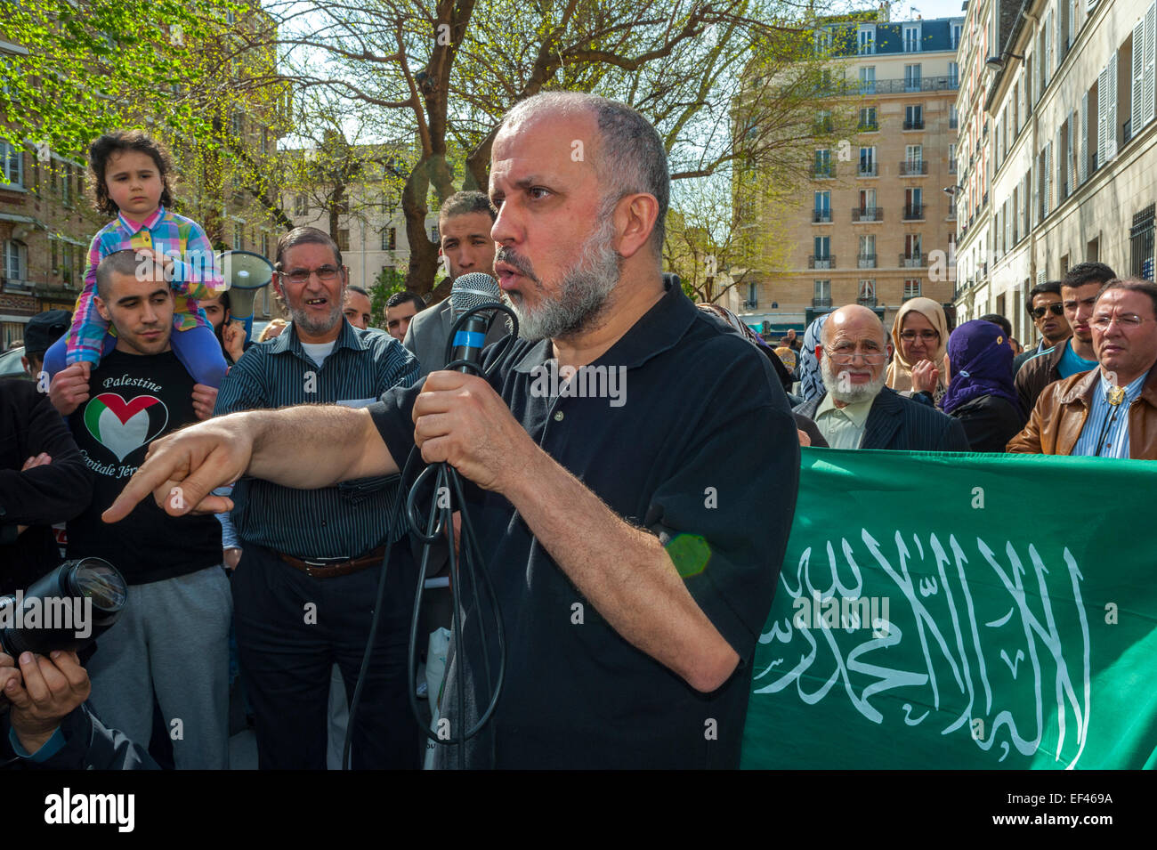 Paris, France, French Arab Muslims Demonstrating against Islamophobia, Racism, Man Making Speech to Crowd - Stock Image
