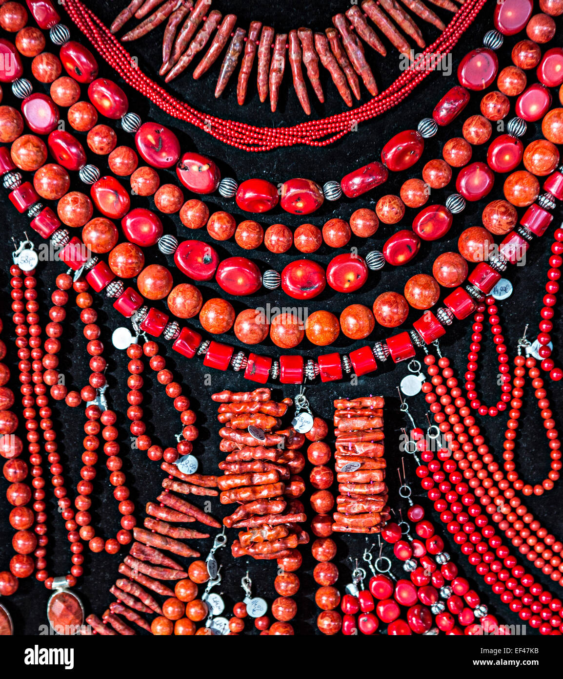 Bambusna korala, bamboo coral, jewelry on sale, Postojna, Slovenia - Stock Image