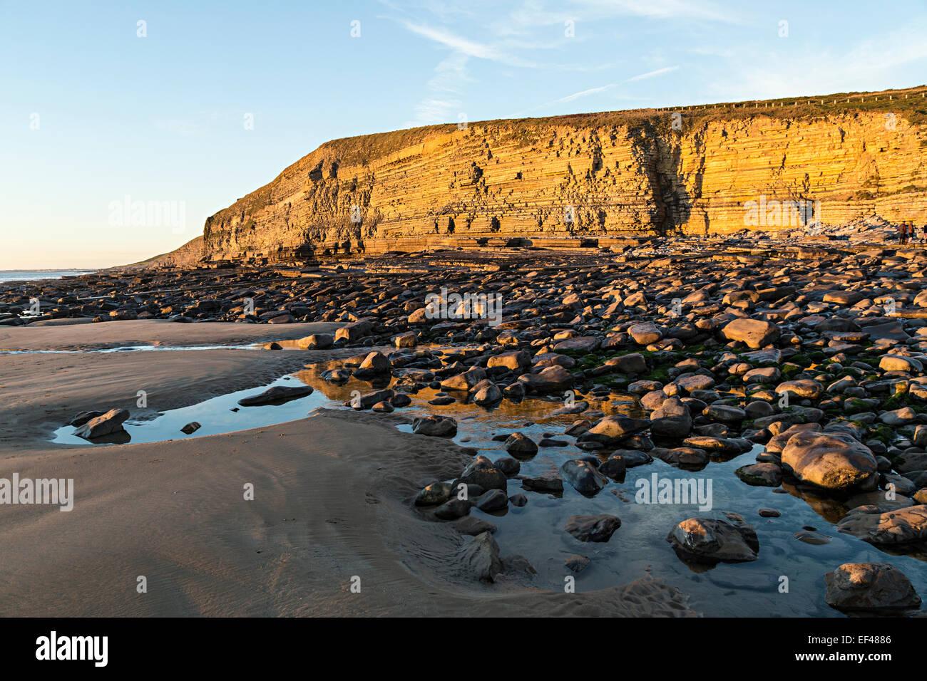 Cliffs at Dunraven bay, Glamorgan Heritage Coast, Wales, UK - Stock Image