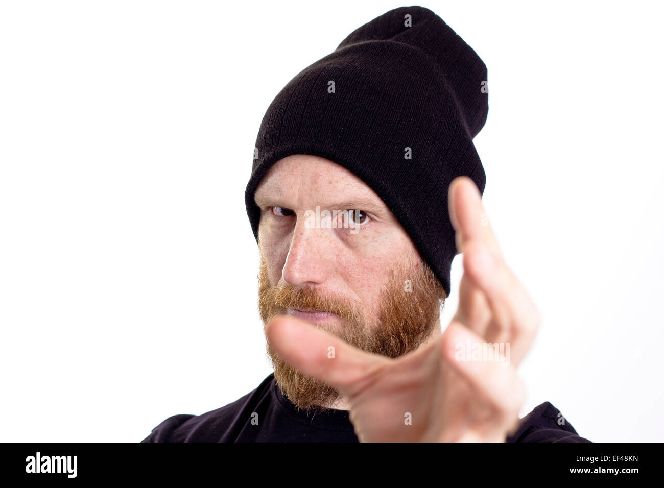 man grabbing  isolated on white background - Stock Image