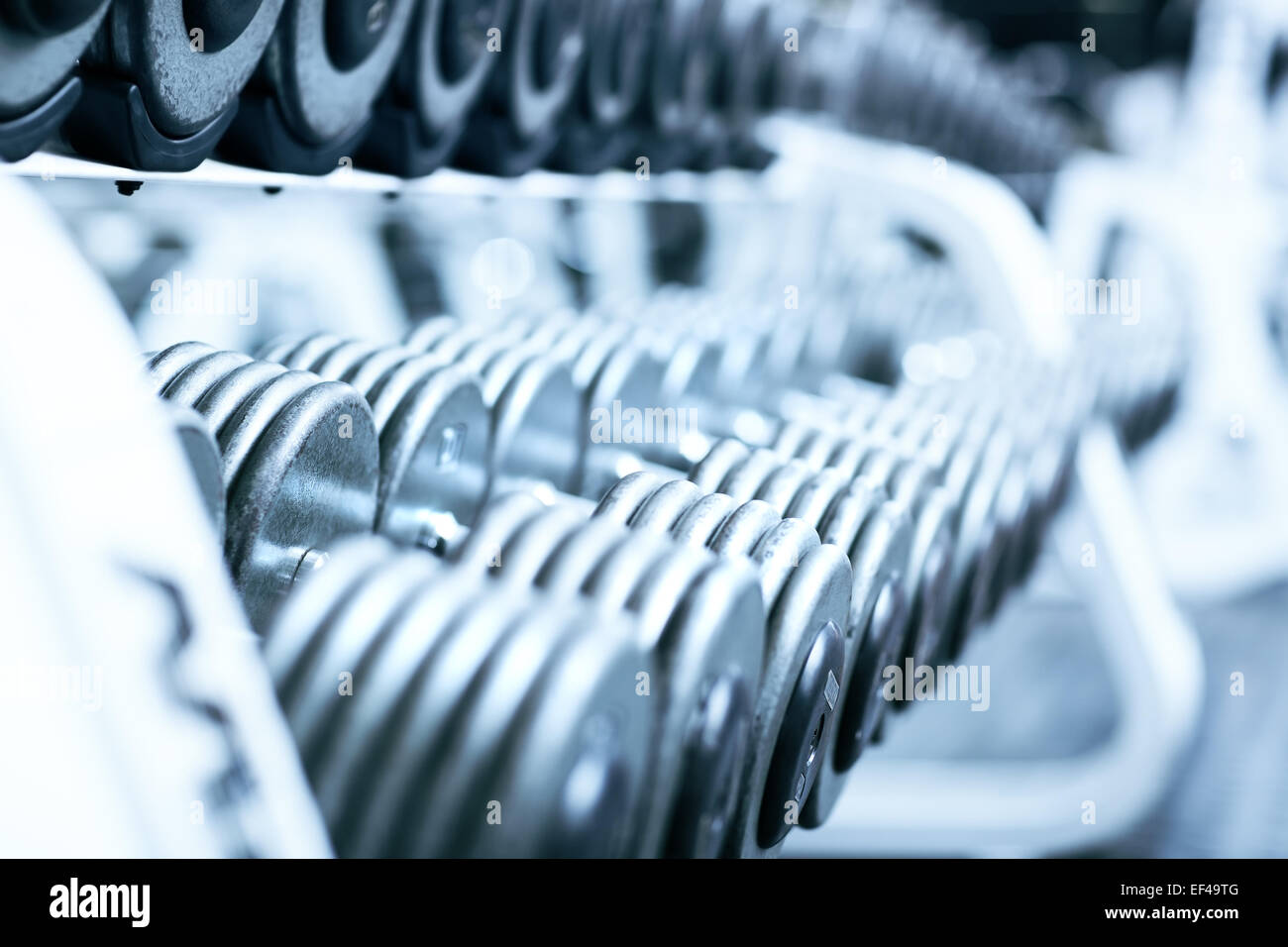 Dumbbells in gym. Soft blue tint. Stock Photo
