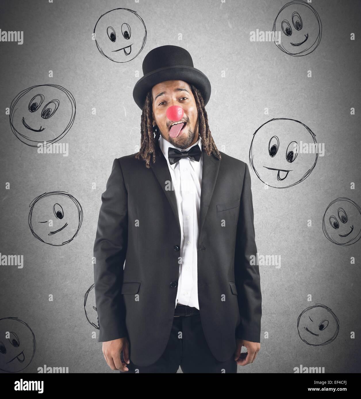 Clown grimacing - Stock Image