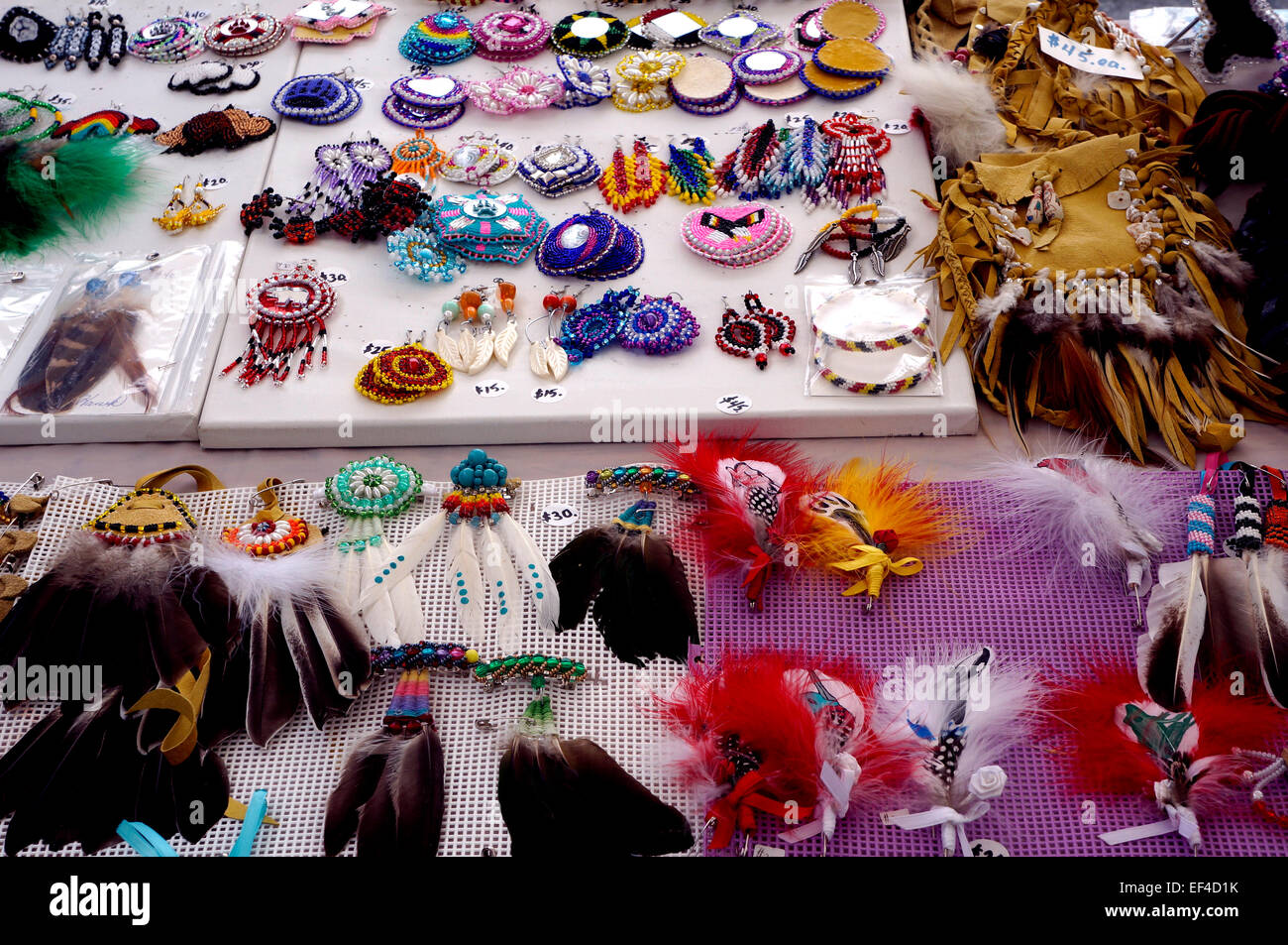 Canadian First Nations jewelry and other handicrafts for sale in Vancouver, BC, Canada - Stock Image