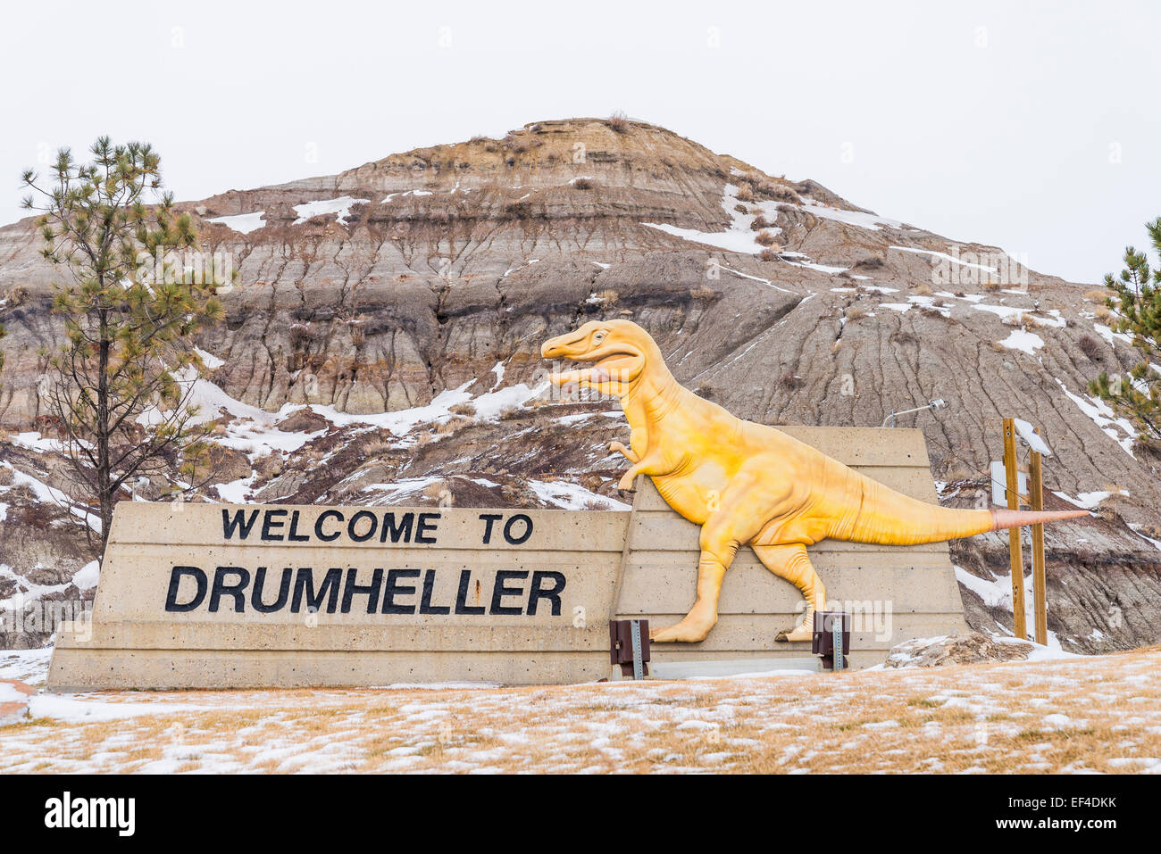 Welcome to Drumheller sign,  Drumheller, Alberta, Canada - Stock Image
