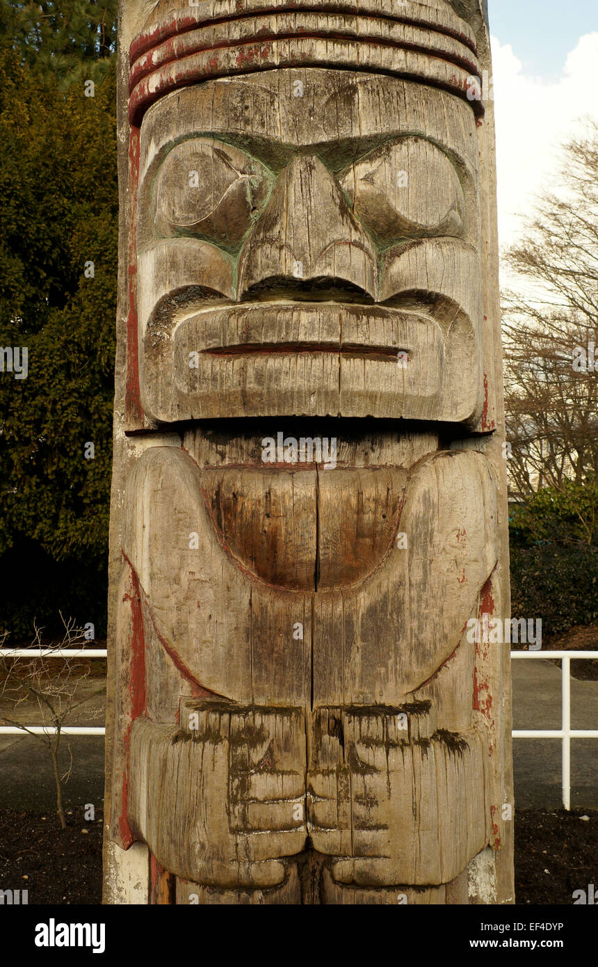 Close-up of  the the Centennial Totem Pole carved by Mungo Martin in Hadden Park, Vancouver, BC, Canada - Stock Image