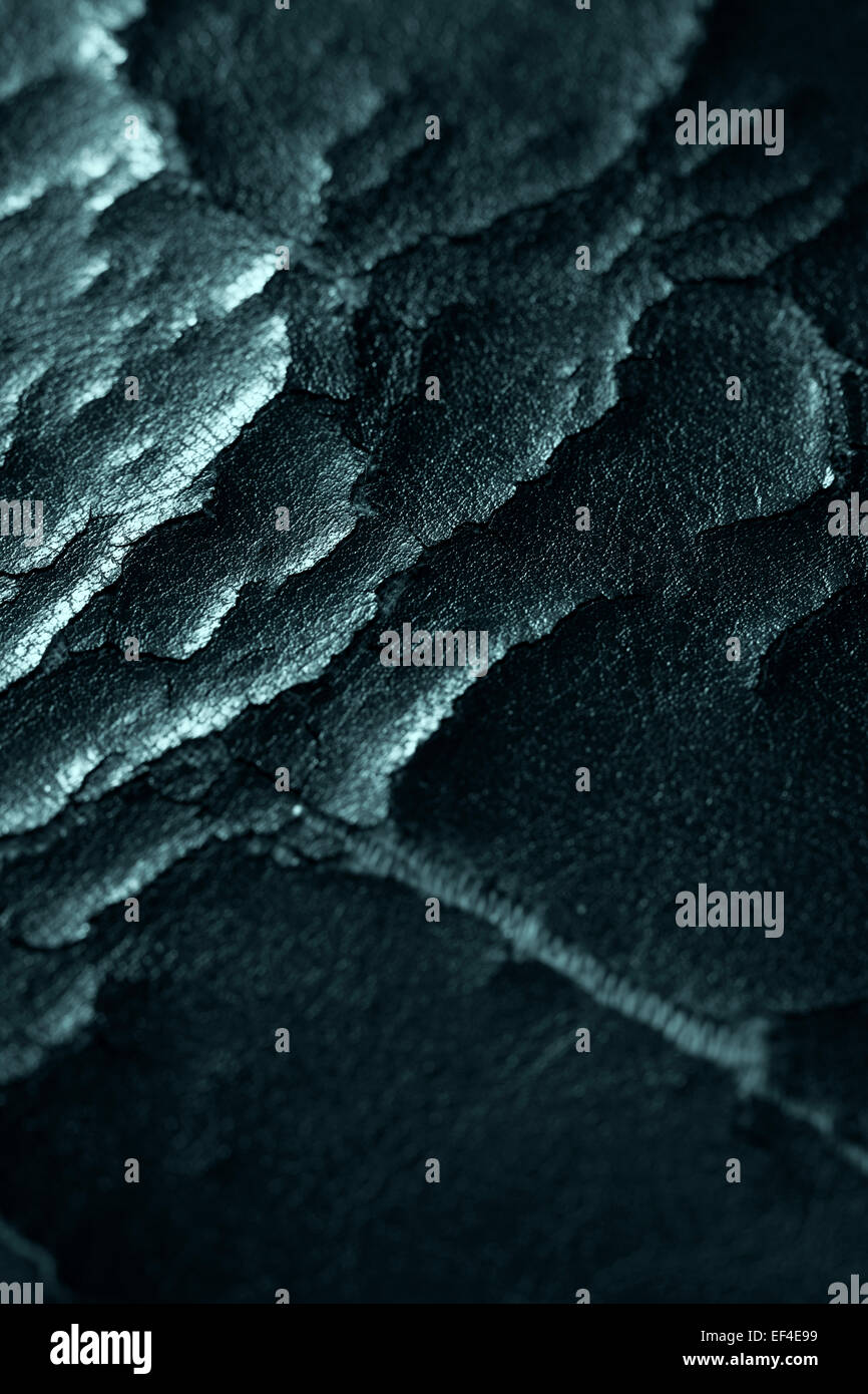 cracked leather, macro, abstract background - Stock Image