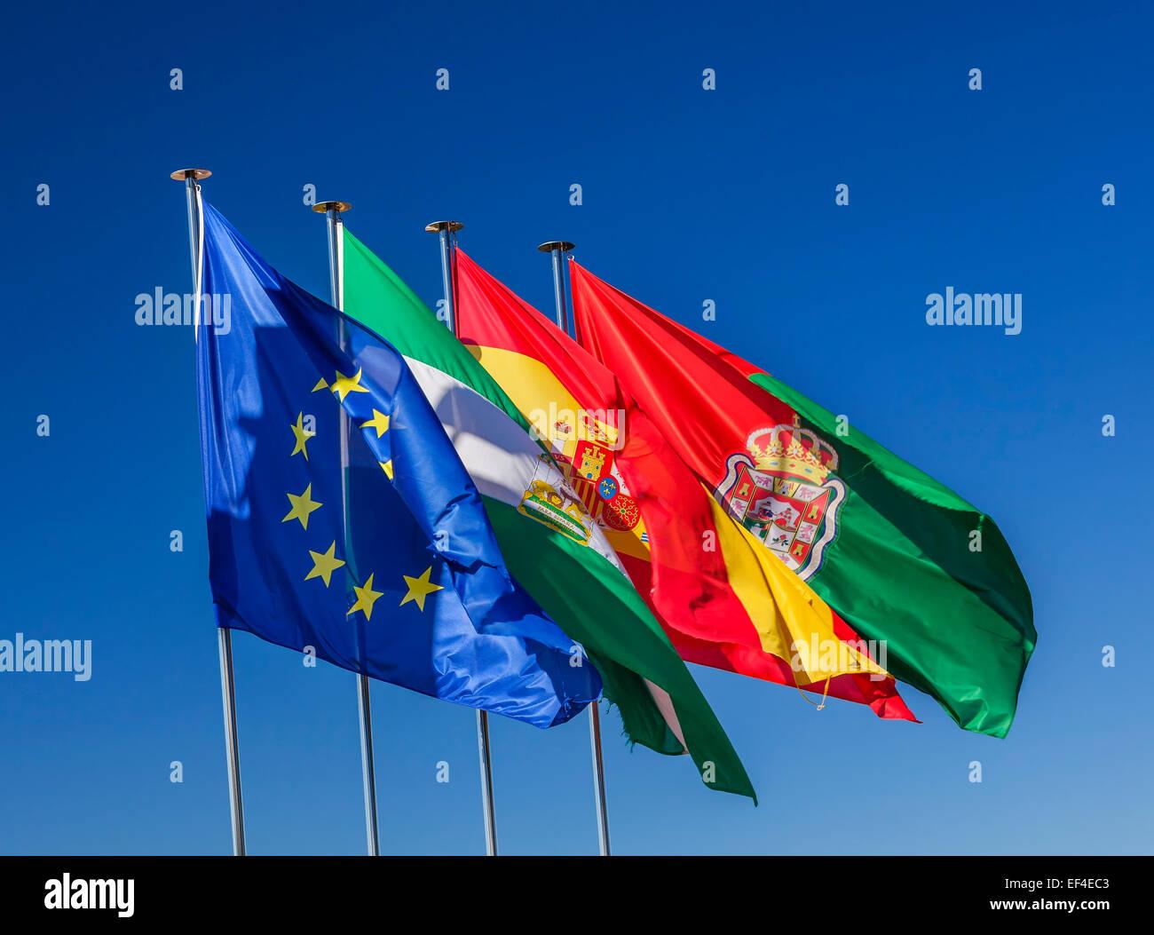 Spain EC Portugal Andalusia Flags Symbols Granada Andalusia Spain - Stock Image