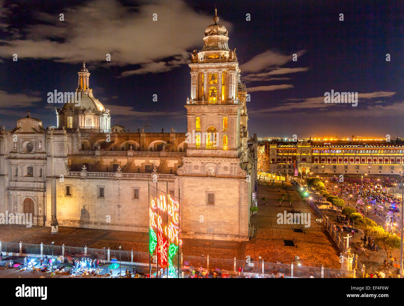 Metropolitan Cathedral and President's Palace in Zocalo, Center of Mexico City, at Night - Stock Image