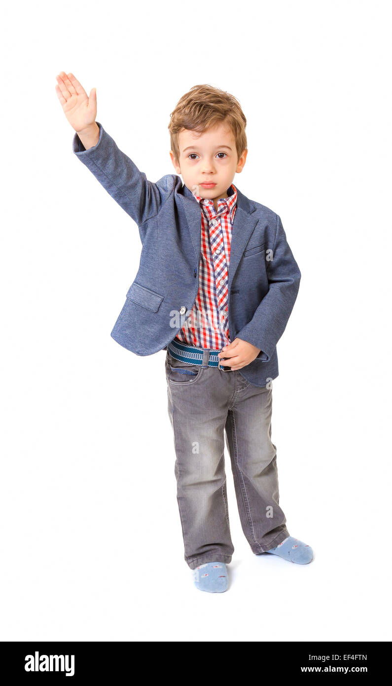 13bc802a864f Little boy with jacket and with his hand lifted up on white background -  Stock Image