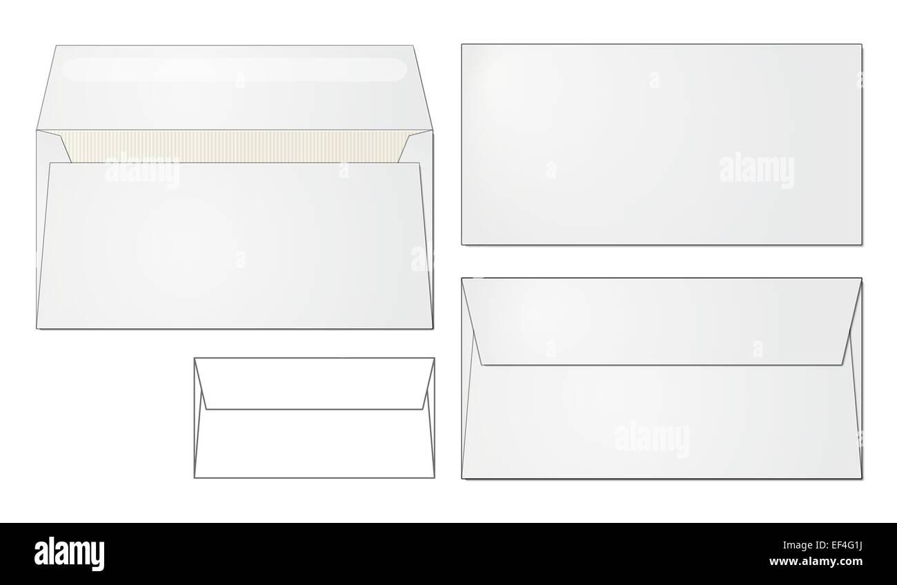 Standard Envelope Design Folded And Open Front Back Side