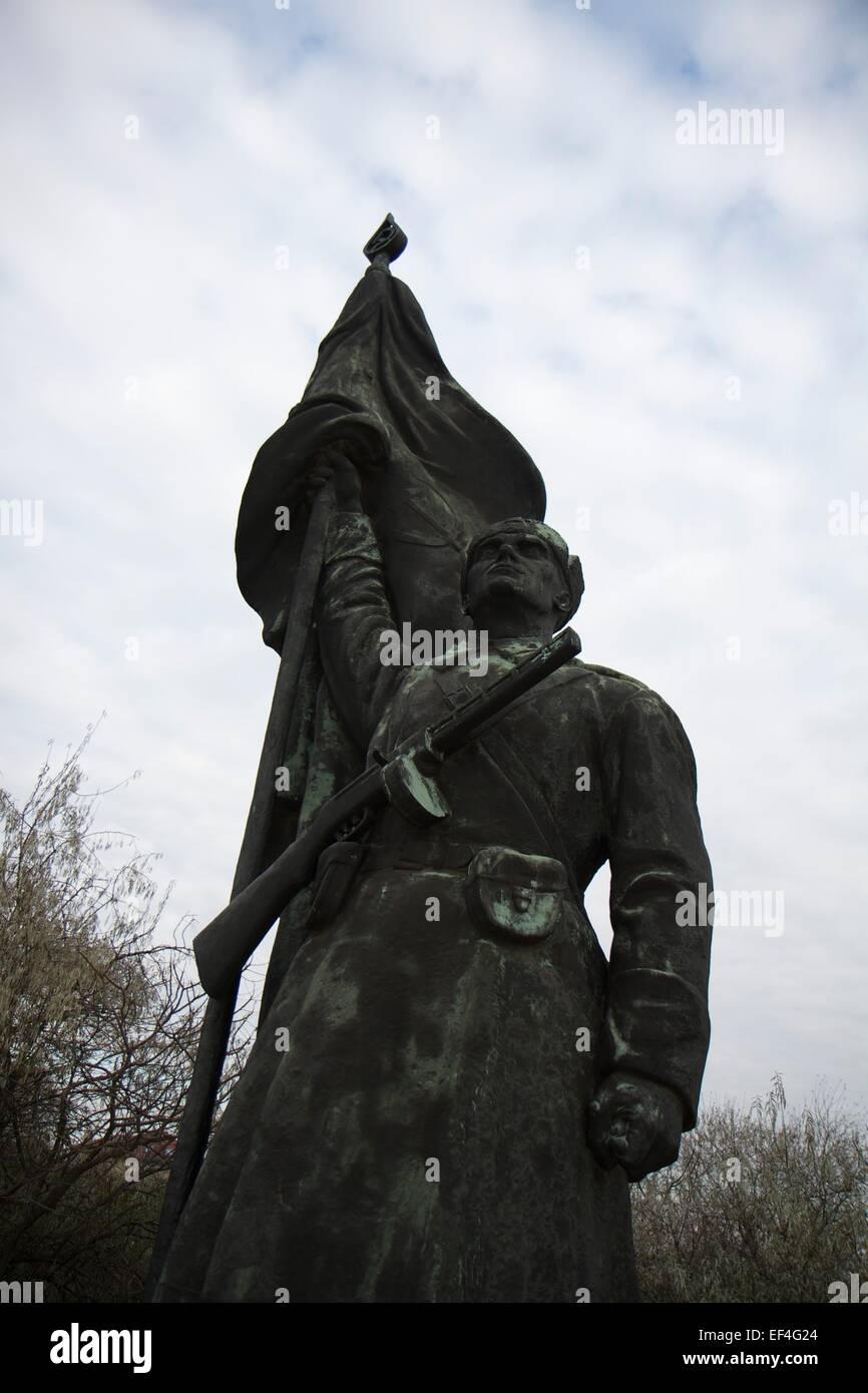 Massive bronze sculpture at Memento Park, outside Budapest - Stock Image