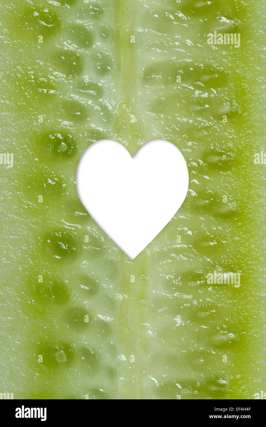cucumber heart shape - Stock Image