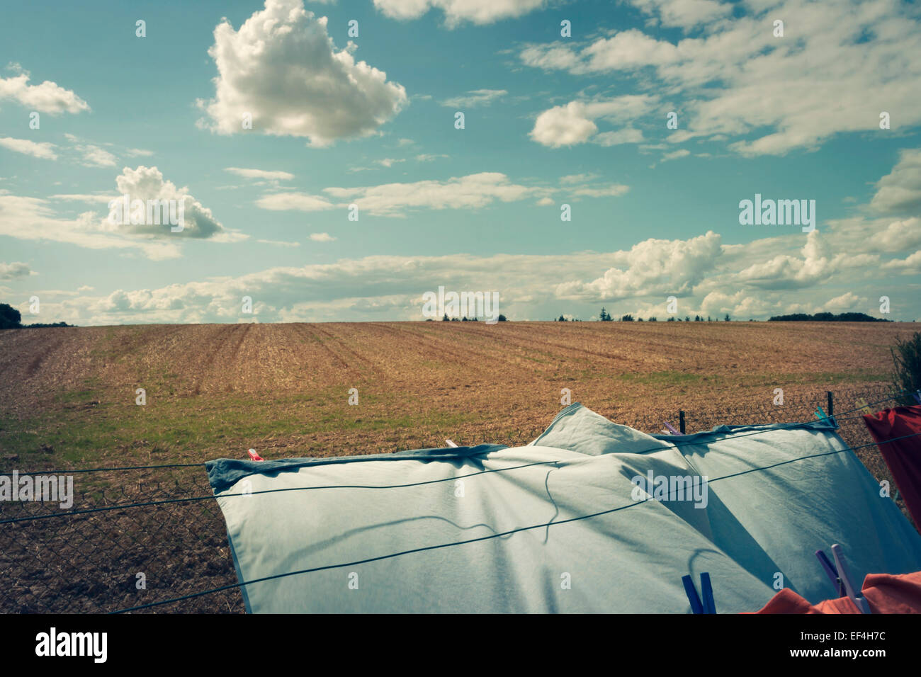 wind on laundry hanging - Stock Image
