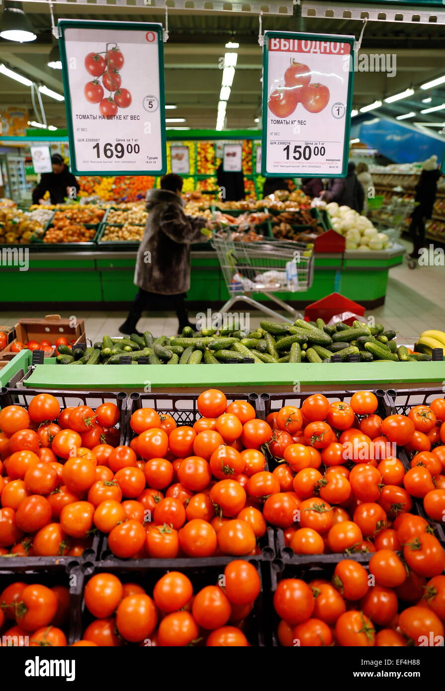 KALININGRAD, RUSSIA  JANUARY 26, 2015  Vegetables for sale at a