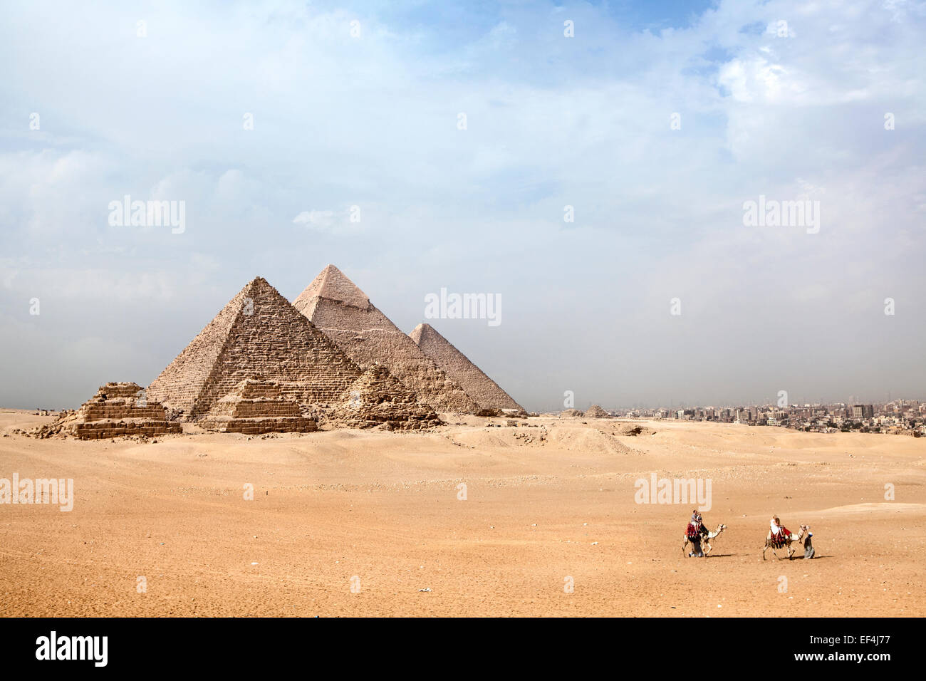 pyramids at Giza with camel and tourists walking past - Stock Image