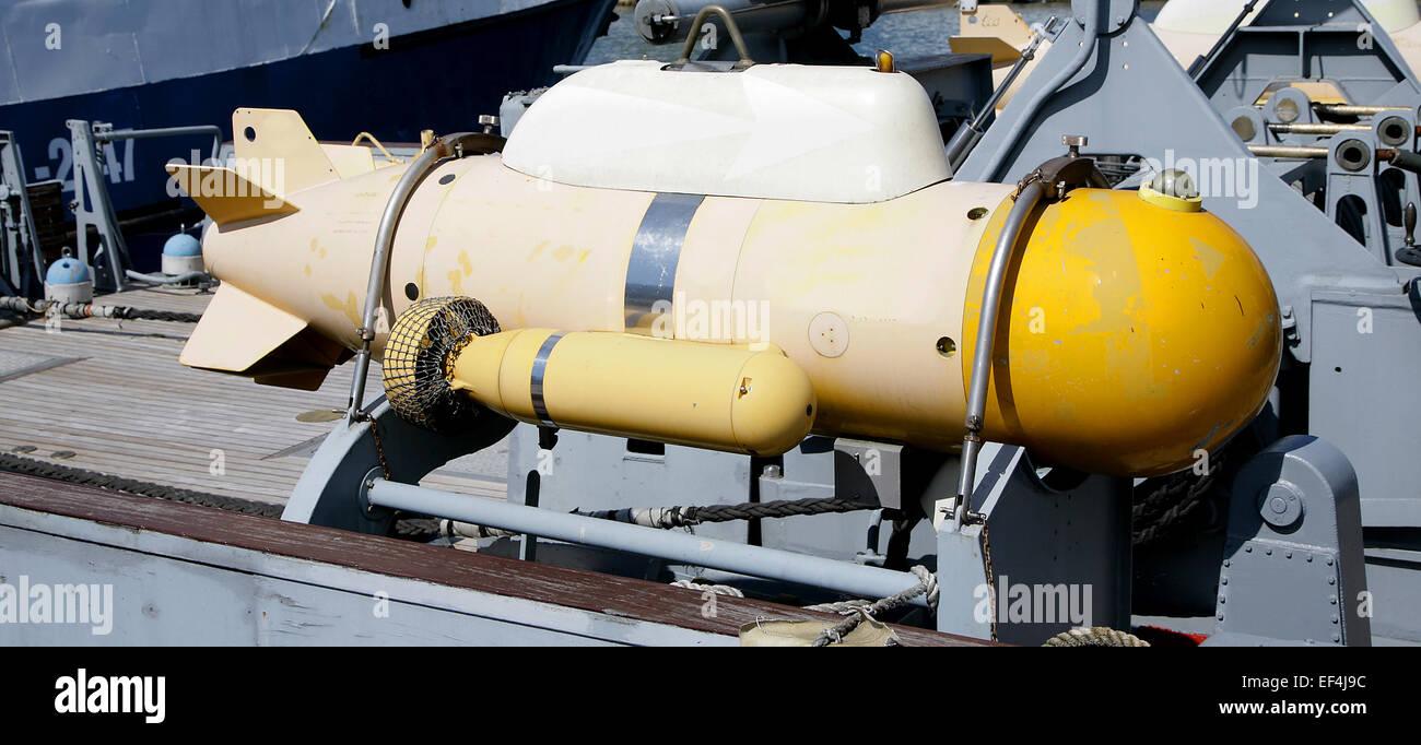 torpedo military navy ship army - Stock Image