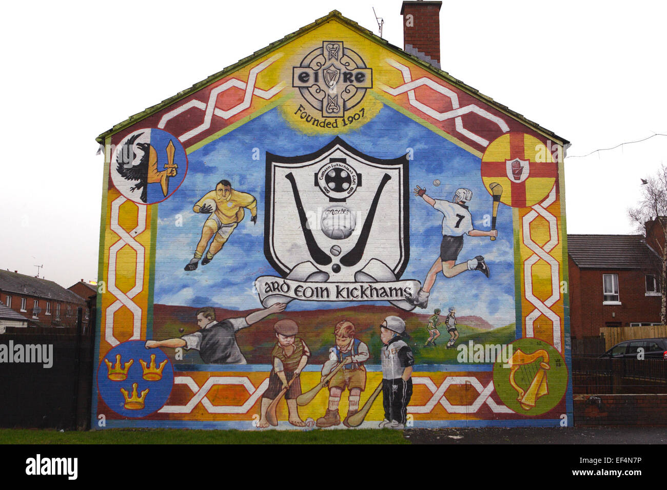A new mural in the Ardoyne area of the Crumlin Road in North Belfast, Wednesday, Feb 3rd, 2010. The Ardoyne is one - Stock Image