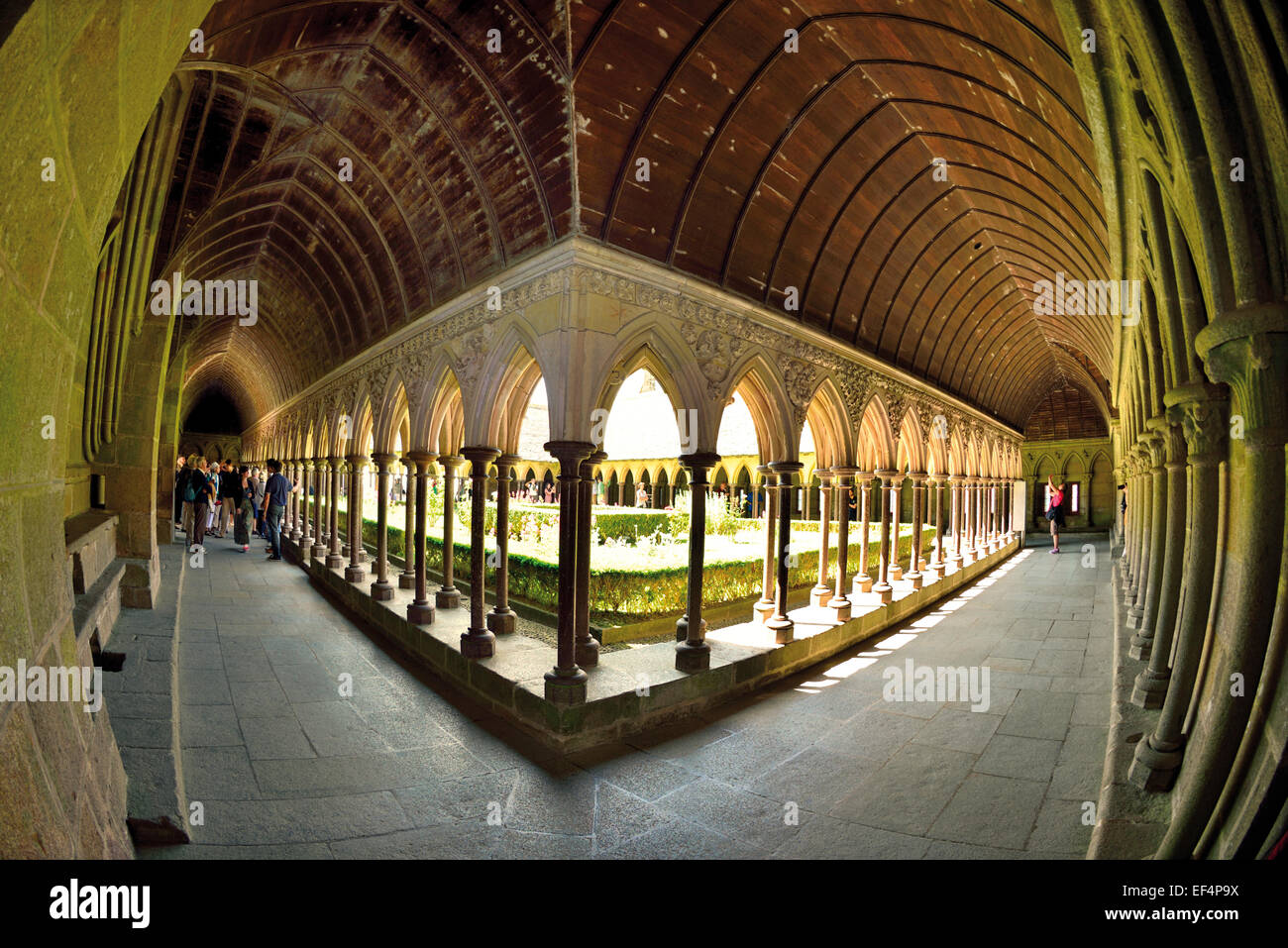 France, Normandy: Medieval cloister of the Abbey Le Mont St. Michel - Stock Image