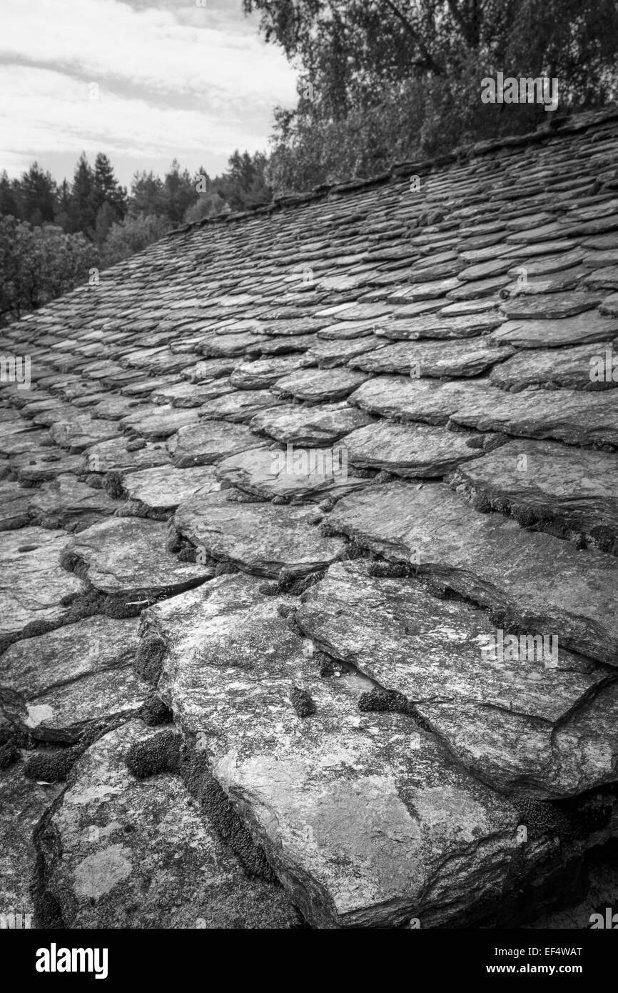 cevennes schist roof, france. - Stock Image