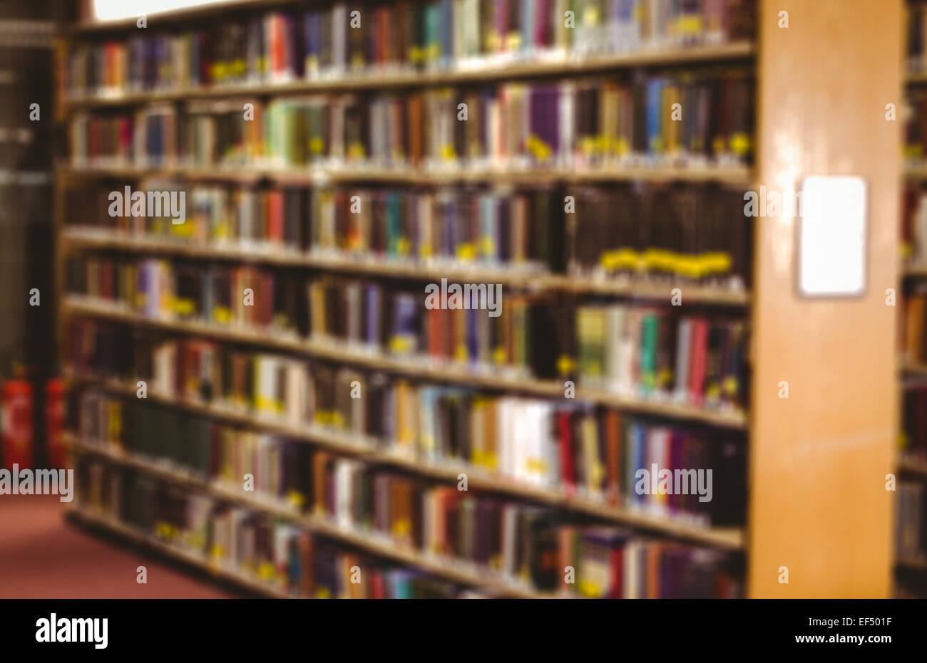 Close up of a bookshelf - Stock Image