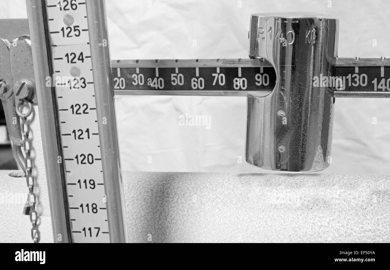 antique scale numbers with the meter to measure the weight and height of patients - Stock Image