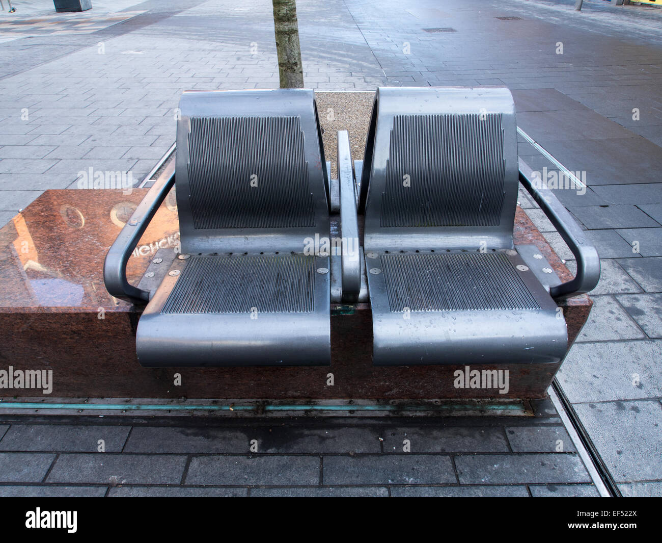 Street Furniture; Metal seats set on marble plinths in the High Street, Leicester on 22nd January 2015 - Stock Image
