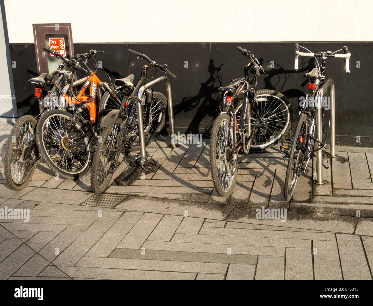 Bicycle storage racks in Shires Lane Leicester photographed in January 2015 - Stock Image