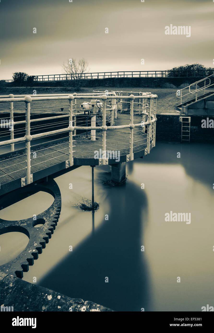 Lock gates, Lydney canal. - Stock Image
