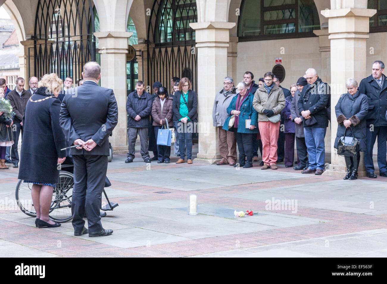 Northampton, UK. 27th January, 2015. 2015 marks the 70th anniversary of the liberation of Auschwitz-Birkenau and - Stock Image