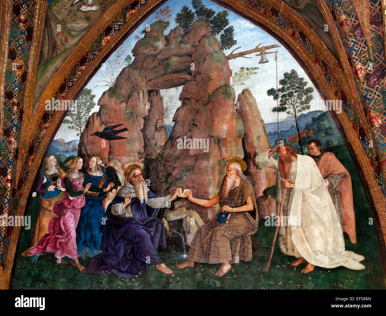 The Encounter Between St. Anthony Abbot & St. Paul the Hermit Fresco Hall of the Saints  Borgia Apartments  - Stock Image