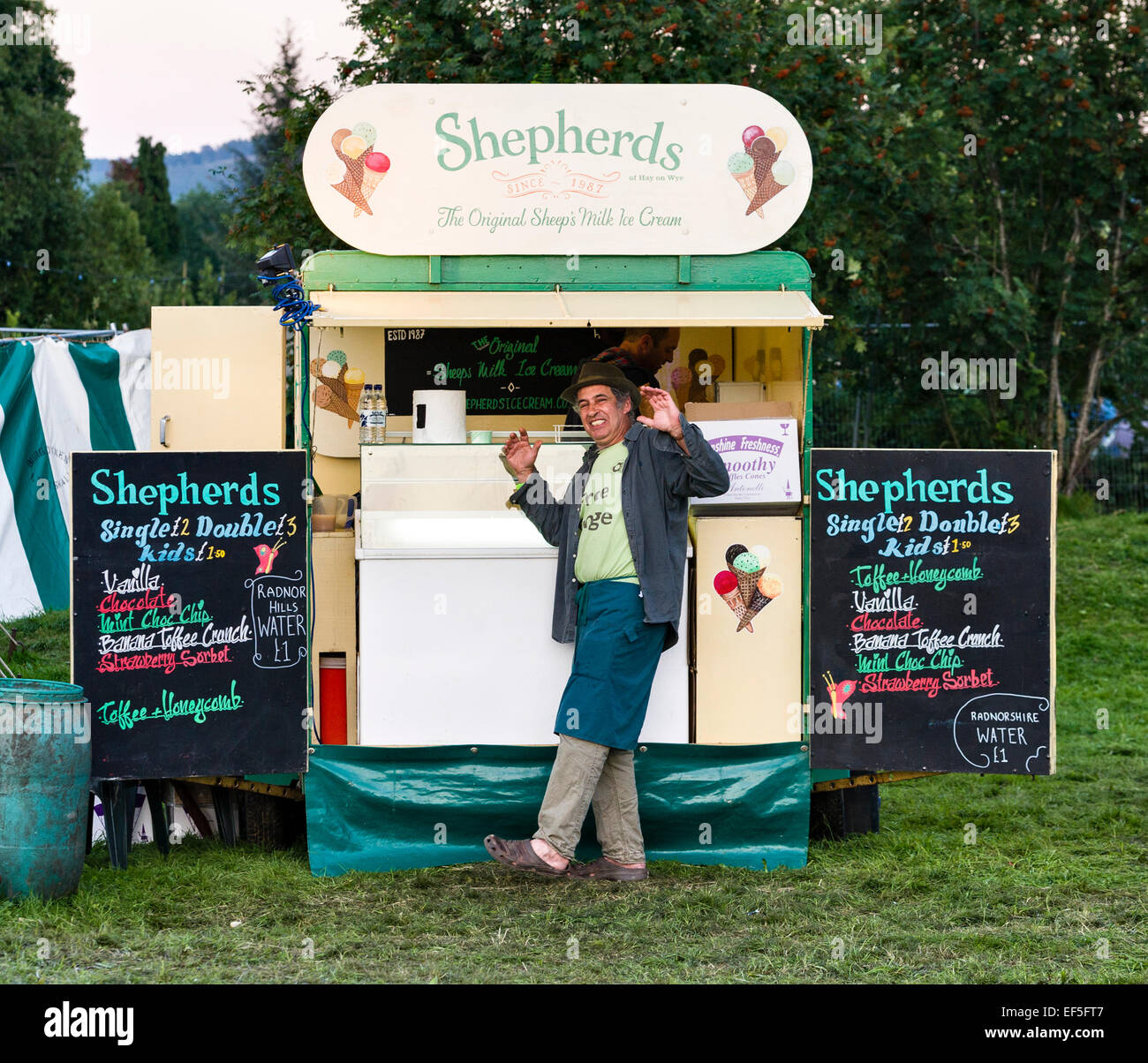 Martin Orbach, founder of Shepherds, the original sheeps' milk ice cream company, at the Sheep Music festival - Stock Image