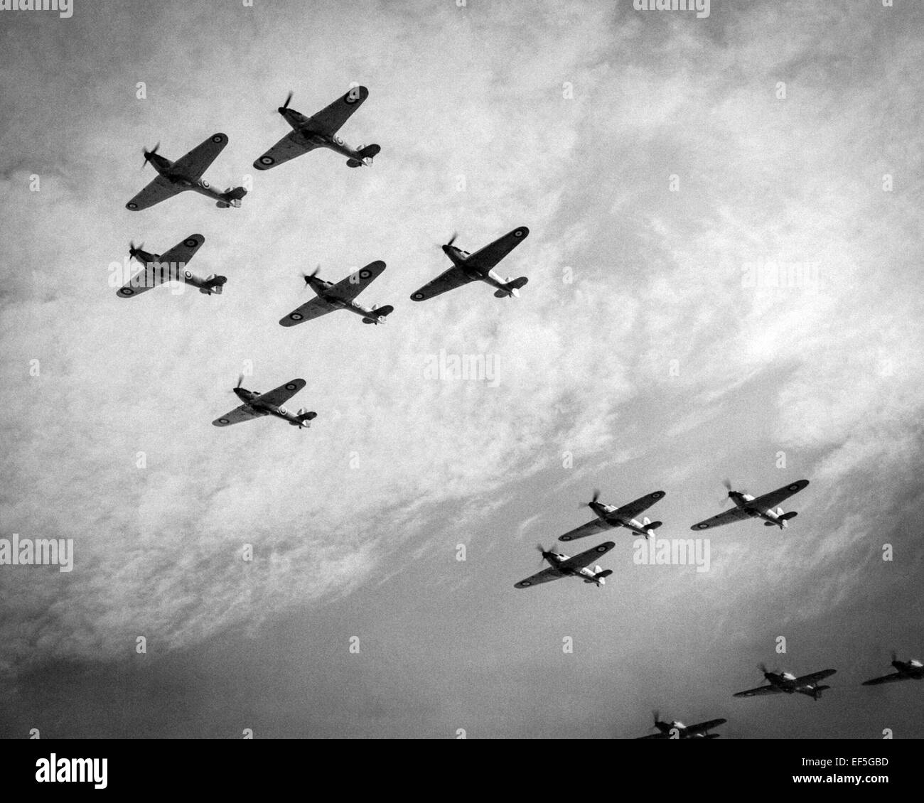 A squadron of the Royal Air Force's (RAF) Hawker Hurricane flies overhead during the Battle of Britain Summer/Autumn - Stock Image