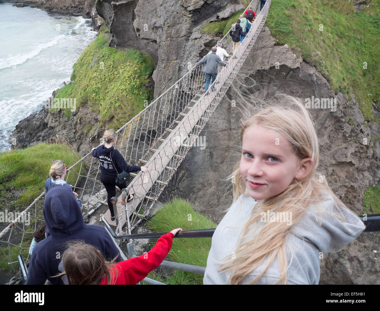 Carrick-a-Rede Rope Bridge Northern Ireland Stock Photo