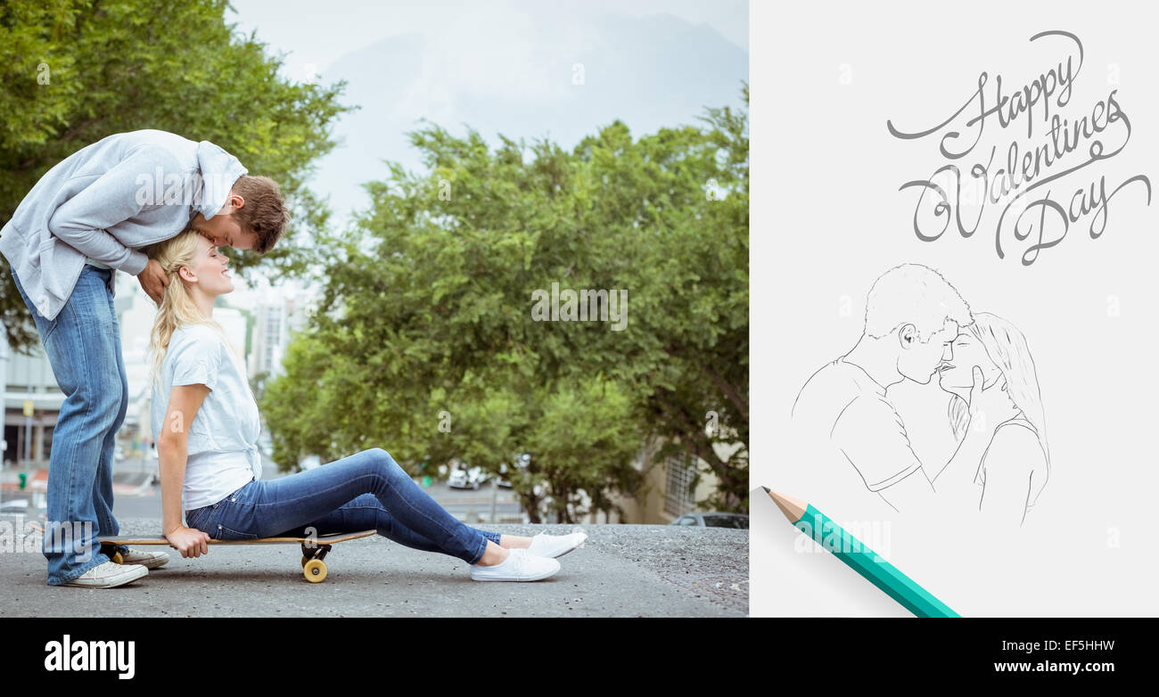 Composite image of hip young blonde sitting on skateboard with boyfriend kissing forehead - Stock Image