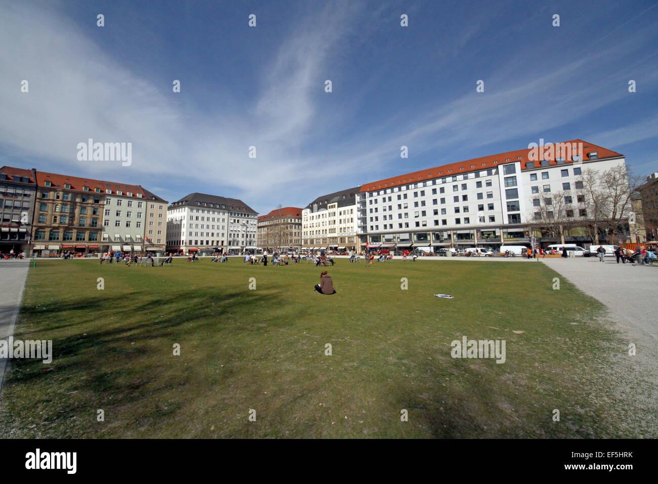 GRASS AREA & BUILDINGS MARIENHOF MUNICH GERMANY 18 March 2014 - Stock Image
