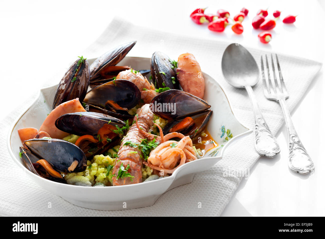 Sea Flavored Passatelli - Stock Image