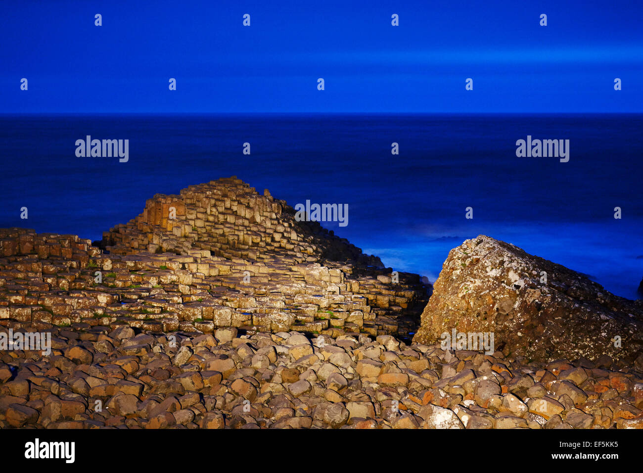 Giants Causeway at night in the blue hour north antrim coast northern ireland - Stock Image