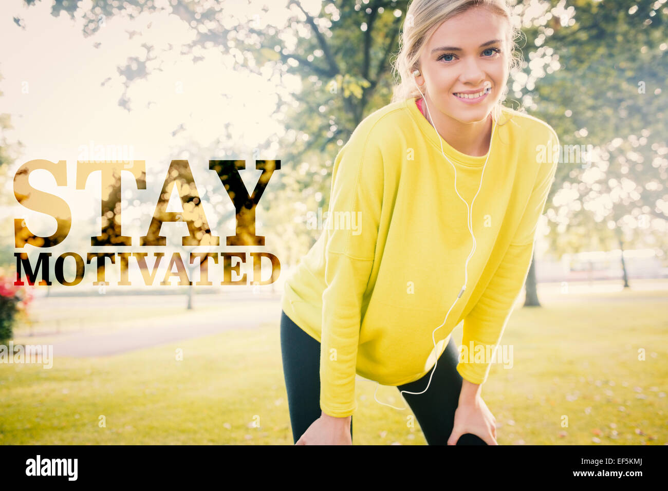 Composite image of active cheerful blonde pausing after a run - Stock Image