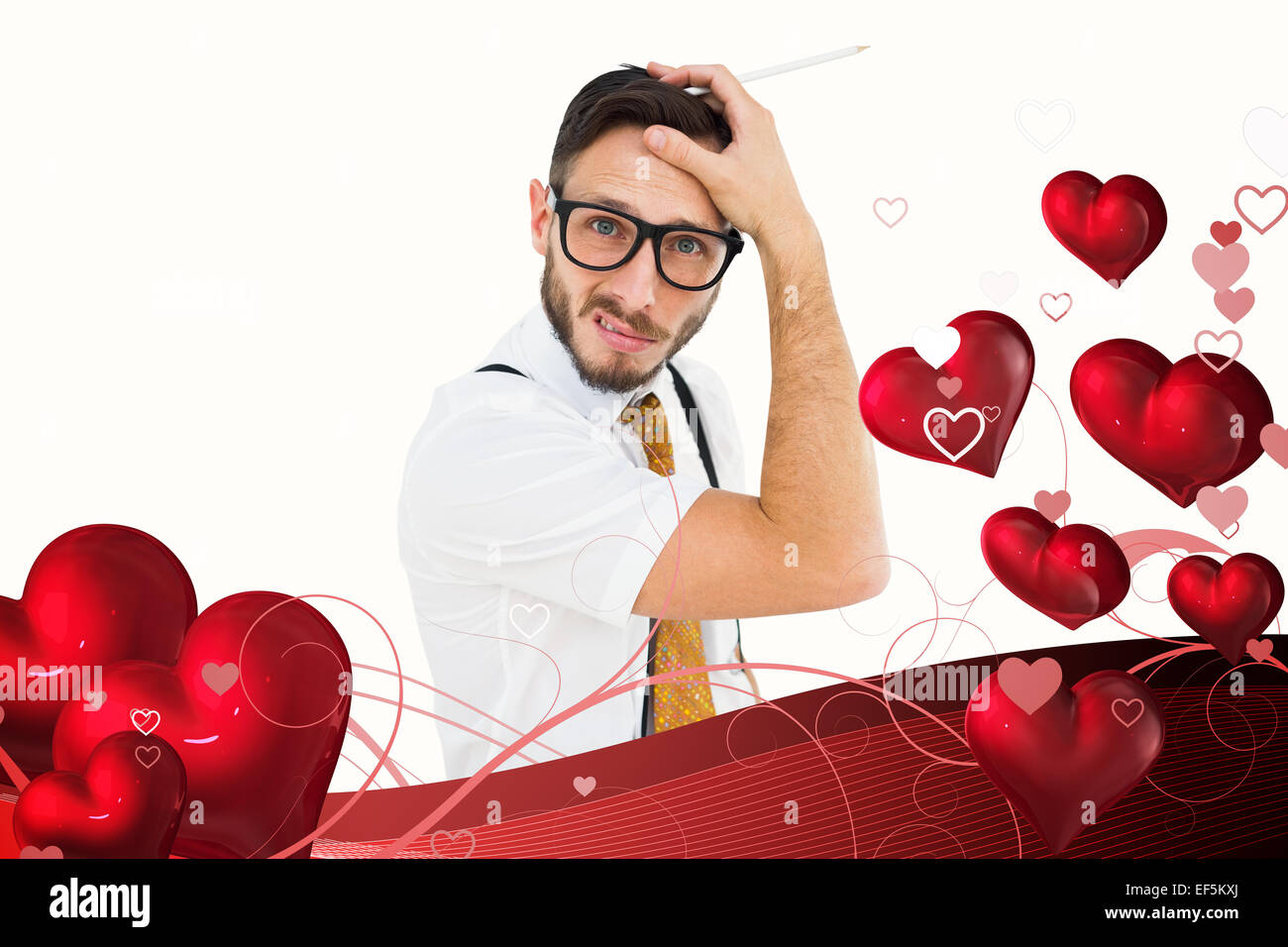 Composite image of geeky hipster scratching his head - Stock Image