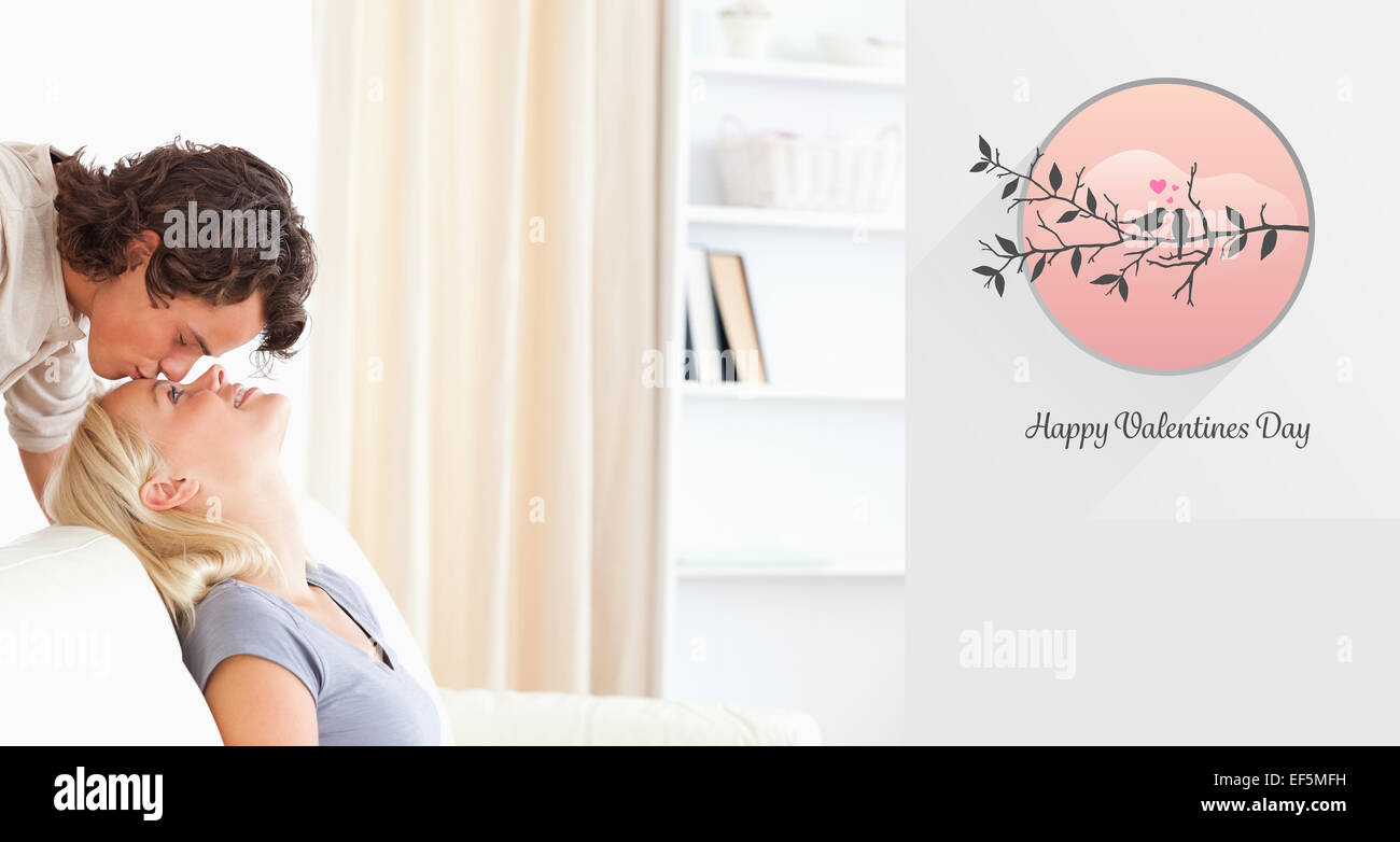 Composite image of cute valentines couple - Stock Image