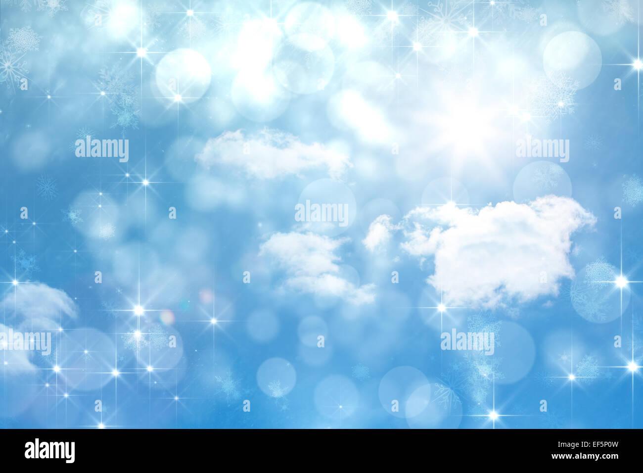 Composite image of shimmering light design on blue - Stock Image