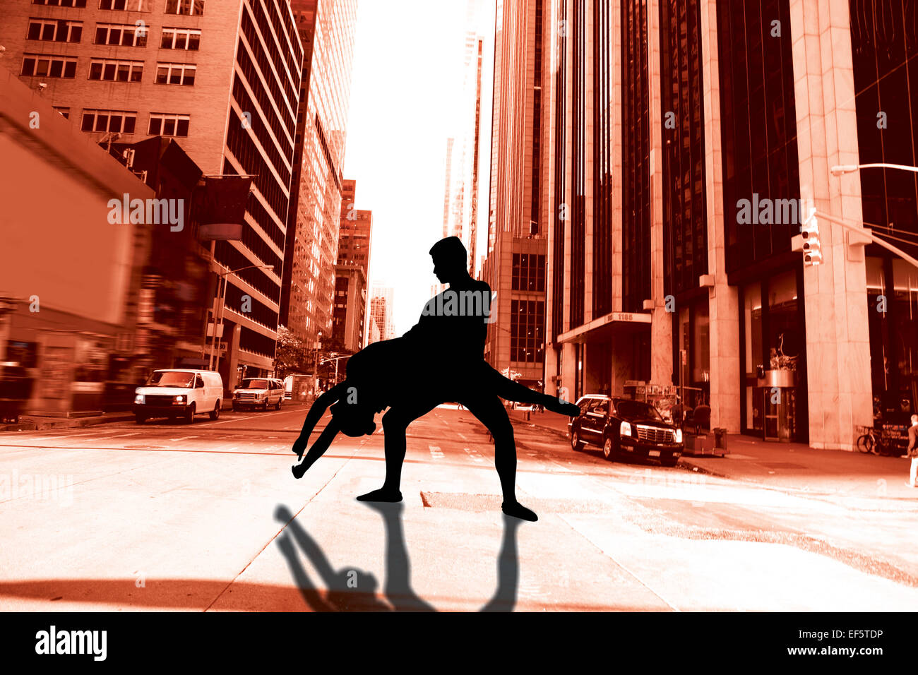 Composite image of ballerina leaping - Stock Image