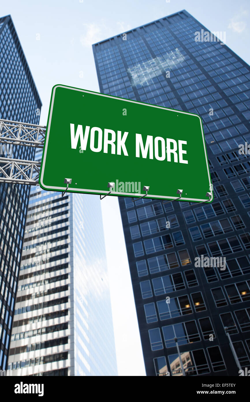 Work more against low angle view of skyscrapers - Stock Image