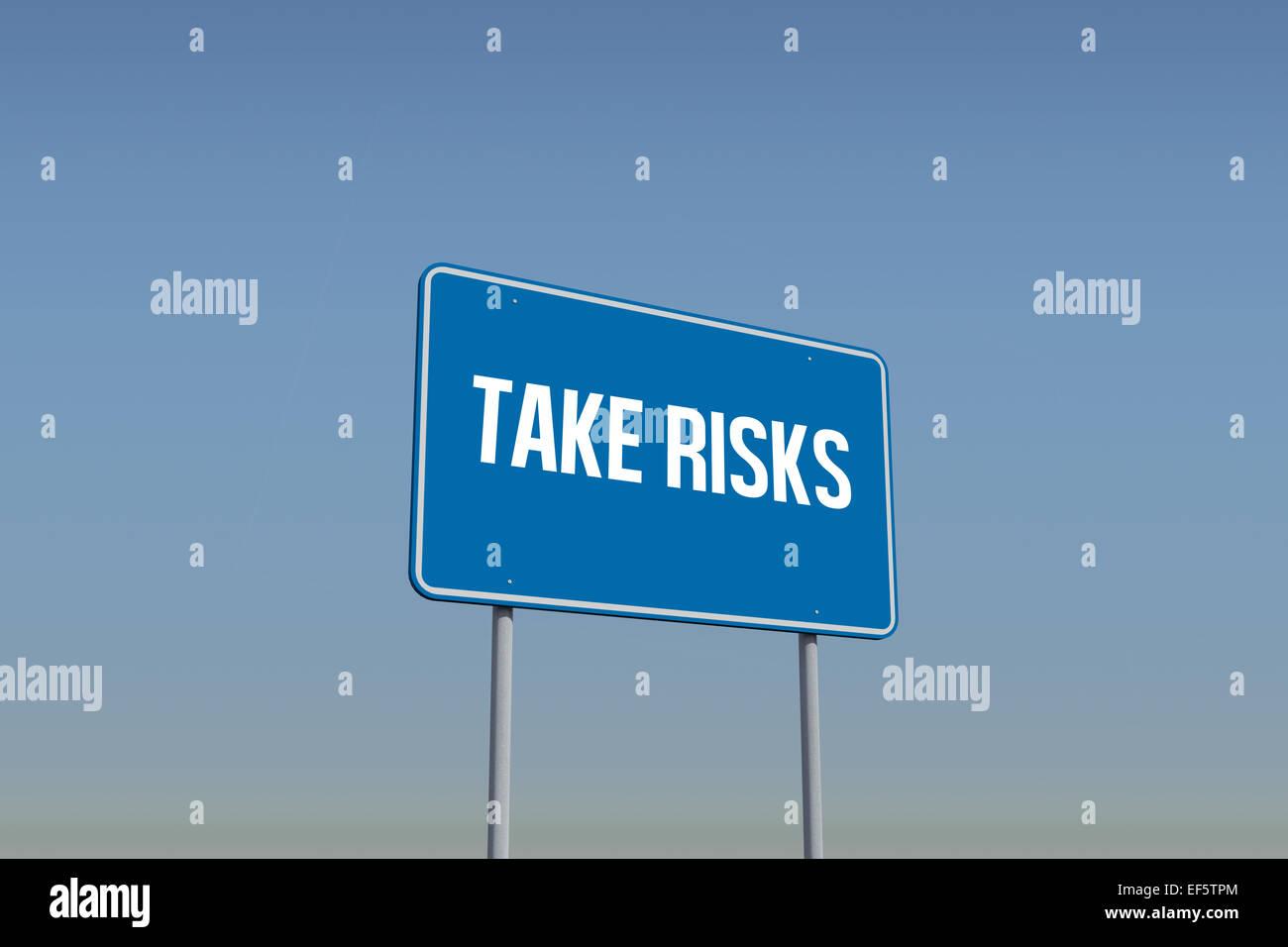 Take risks against blue sky - Stock Image