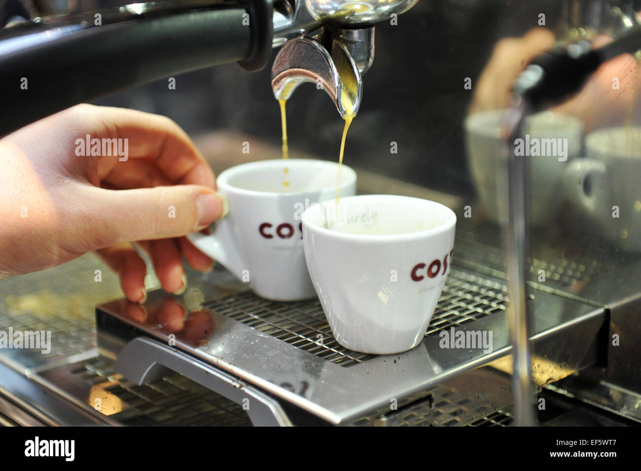 Making Espresso Coffee In A Costa Coffee Shop Uk Stock